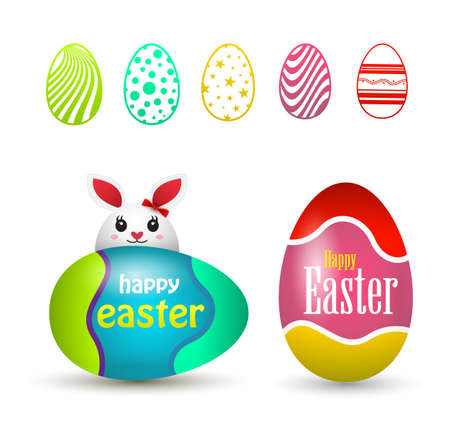 Happy easter eggs. Vector illustration. easter egg icons.