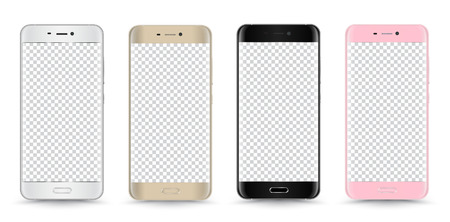 palmtop: Vector realistic smartphone set black, gold, pink and white isolated. Vector illustration.