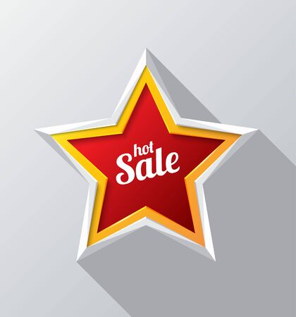pricetag: hot sale design with red star modern. Vector illustration