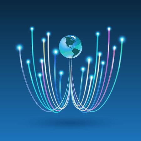 fibra óptica: Conexión de fibra óptica para la comunicación empresarial y la tecnología de red. Ilustración del vector se puede utilizar para el folleto, infografía, sitio web. Vectores