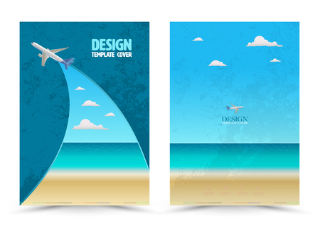 cover page: Cover page layout template with airplane. Vector illustration. Can use for travel tour concept Leaflet, brochure, book, magazine, document template and business report cover. Illustration