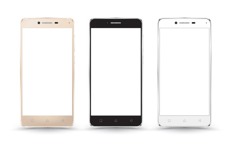 palmtop: New realistic mobile phone smartphone collection mockups with blank screen isolated on white background. Vector illustration. for printing and web element, Game and application mockup. Illustration