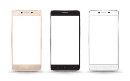 Nouveaux réalistes maquettes de collecte de smartphone téléphone mobile avec écran blanc isolé sur fond blanc. Vector illustration. pour l'impression et l'élément de web, des jeux et applications maquette.