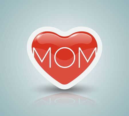 love mom: Mothers day card with heart. Vector Illustration. love mom.