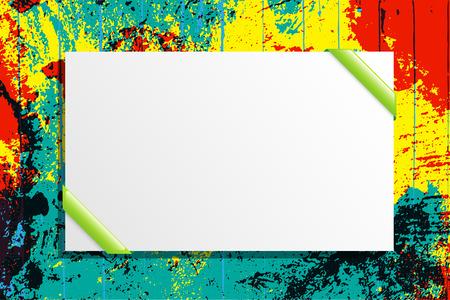 Wit bord op grunge achtergrond kleur. Vector illustratie.