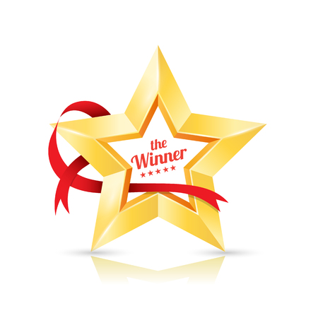 estrellas cinco puntas: Gold Star frame the winner with ribbon. Vector illustration.