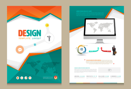 layout design template: Cover annual report Leaflet Brochure Flyer template A4 size design, book cover layout design, Abstract presentation templates, Business report template.