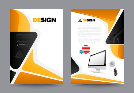 Abstract brochure with monitor design template. Book design, print design, journal. Brochure vector. Brochure template. Flyer design. Flyer template. Brochure abstract design. Brochure background