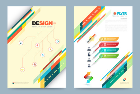 brochure cover design: Vector cover design template simply and elegant style, Can use for flyer, brochure, annual report, magazine, book, poster, printing press and web presentation. Vector illustration. Front and back layout A4 size. Illustration