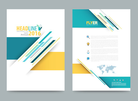 Vector cover design template simply and elegant style, Can use for flyer, brochure, annual report, magazine, book, poster, printing press and web presentation. Vector illustration. Front and back layout A4 size. Vectores