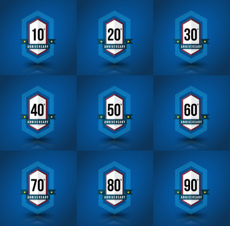 Anniversary badge set. 10,20,30,40,50,60,70,80,90 years. Template for cards and congratulation design. Vector illustration.