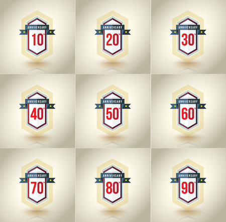 40 50: Anniversary icon set. 10,20,30,40,50,60,70,80,90 years. Template for cards and congratulation design. Vector illustration. Illustration