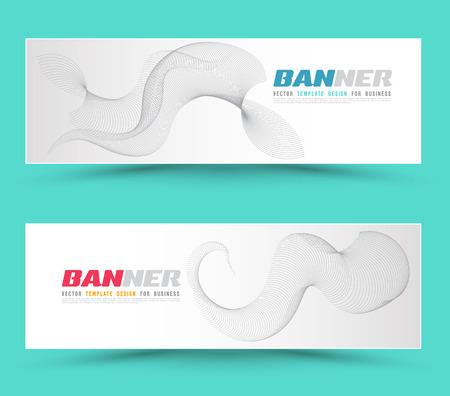 illustration for advertising: Set of banner templates. Bright modern abstract lines design on blue background. Vector illustration. For advertising website banner.