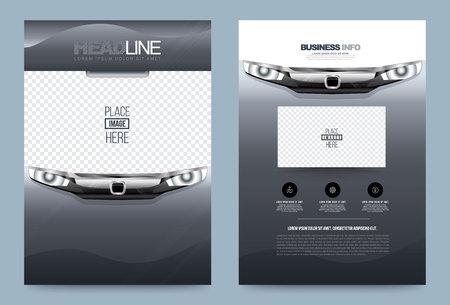 Zakelijke jaarverslag brochure design template auto stijl, Brochure dekking presentatie modern voor auto poster tijdschrift, lay-out in A4-formaat