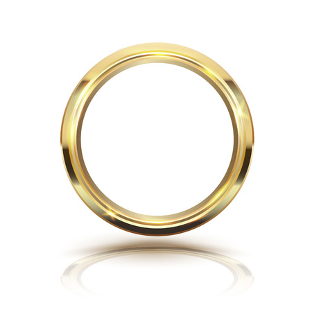 Gold circle isolate on white background. illustration. Vettoriali