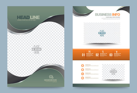 kurve: Grüne Jahresbericht Broschüre Design-Vorlage Kurve Stil, Leaflet Abdeckung Präsentation abstrakte Technologie Hintergrund, Layout im A4-Format. Illustration.