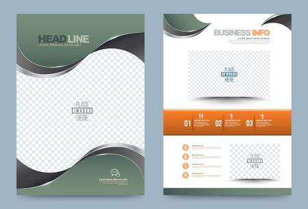 verde estilo informe anual folleto plantilla de diseño de la curva, folleto de presentación tapa tecnología resumen de antecedentes, diseño de tamaño A4. ilustración.