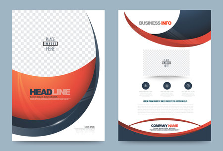 curve: Annual report brochure design template curve style, Leaflet cover presentation abstract technology background, layout in A4 size. illustration. Illustration