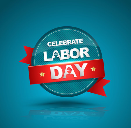 badge with ribbon: Celebrate labor day badge with red ribbon. illustration.
