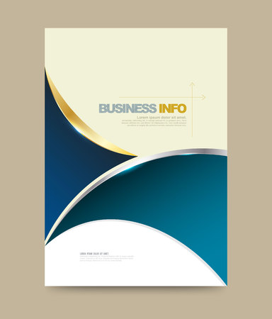 Annual report brochure design template curve style, Leaflet cover presentation abstract technology background, layout in A4 size. illustration. Vectores