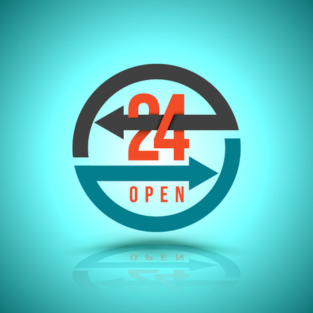 24 hr: Arrow Circle Service 24 hour open Icon, Label or Sticker for Customer Service, Support or CRM Concept Isolated on White Background Illustration