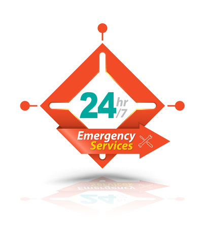 Arrow Square Emergency Services 24H Icon, Badge, Label or Sticker for Customer Service, Support or CRM Concept Isolated on White Background Illustration