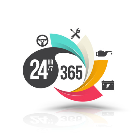 24hr 7 and 365 day with icons for services banner. Vector illustration. Çizim