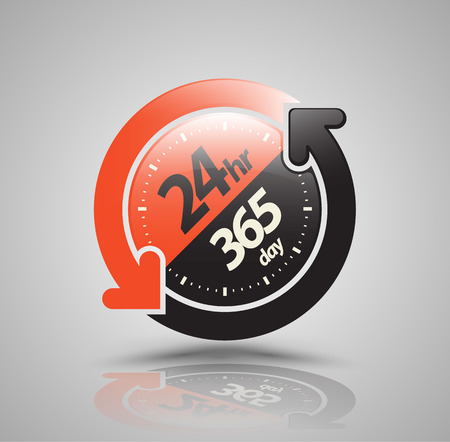 shop opening hours: 24hr 365 day with two circle arrow icon. vector illustration. Illustration