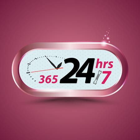 365 24hrs /7 open customer service with clock. Vector illustration. Vettoriali