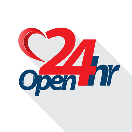 24 hours: Open 24 hr heart style. Vector illustration.