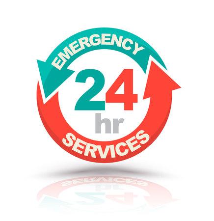 emergencia: servicios de emergencia las 24 horas icono. ilustración vectorial Vectores