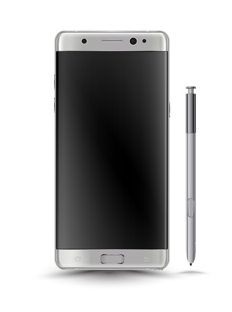 digital printing: New realistic smartphones isolation with digital pen mockup.Perfectly detailed and use for printing, website, or place demo on screen.