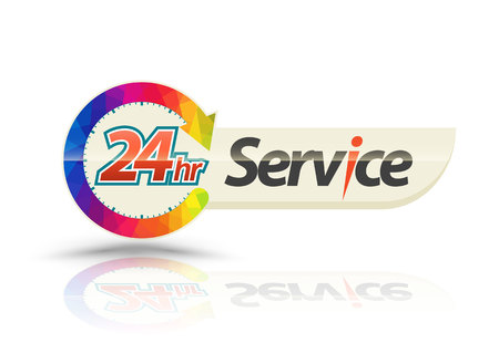 response time: 24hr Service with circle arrow. Vector illustration. Illustration