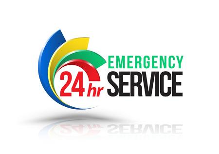 emergencia: 24 horas logotipo del servicio de emergencia. Ilustración del vector.
