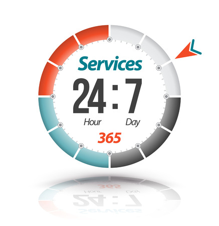 Circle banner Services 24hr 7day 365. Vector illustration.