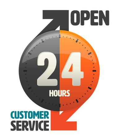 24 uur open klantenservice pictogram. vectorillustratie