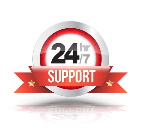 Red 24hr7 support with clock scale badge. Vector illustration. Çizim
