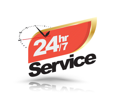 24hr 7 service with Clock banner. Vector illustration.