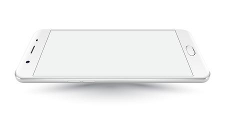 Nouvelles smartphone téléphone portable blanc mockups style iphon réalistes avec écran blanc isolé sur fond blanc. Vector illustration. pour l'impression et l'élément de web, des jeux et applications maquette.