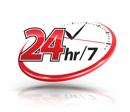 24hr services with clock scale logo. Vector illustration. Stock Illustratie