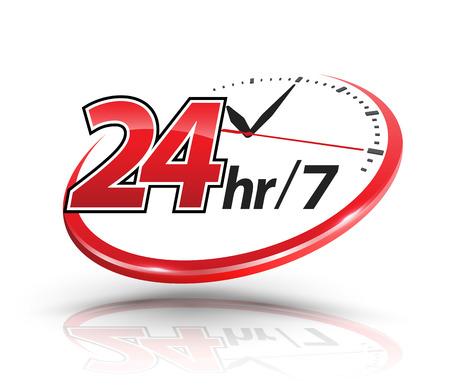 Usługi 24h z logo zegara. Ilustracji wektorowych. Logo
