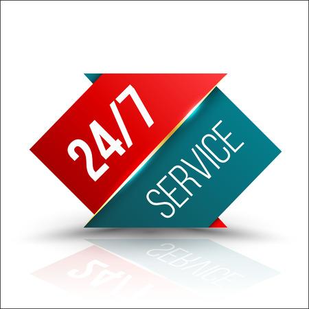 Pijl rood groen Dienst 24/7 Icon, Badge, label of sticker voor Customer Service, ondersteuning of CRM concept geïsoleerd op witte achtergrond