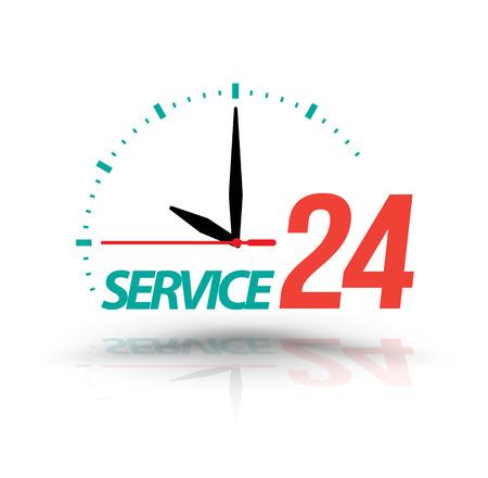 Service 24 with Clock. Vector illustration. Çizim