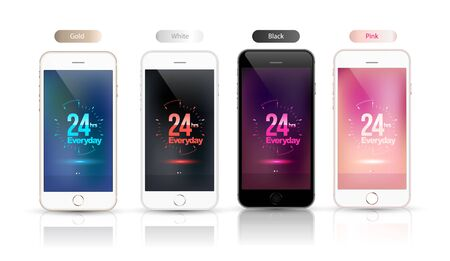 hrs: 24 hrs everyday on screen smartphone mockup set. Vector illustration.