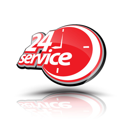 emergency number: Twenty four hour service symbol. Vector illustration. Can use for service advertising. Illustration