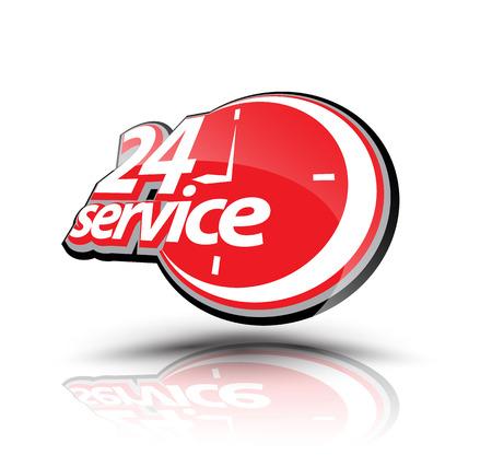 Vierentwintig uurs service symbool. Vector illustratie. Kan gebruiken voor service reclamebureau.