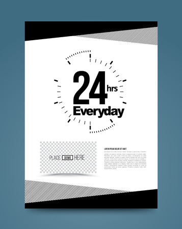 response time: 24hr emergency concept template black and white style. Vector illustration. For printing poster brochure. Illustration