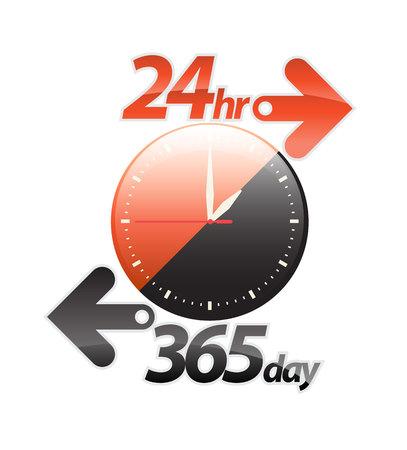Oranje zwart 24-uurs 365 dagen pijl, 24-uurs service sticker, pictogram, label, banner, teken geïsoleerd op wit. Vector illustratie.