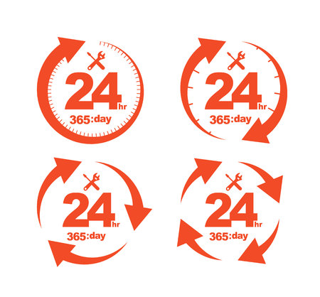 assistance: Set of Arrow Circle Service 24Hr 365 day Icon, Badge, Label or Sticker for Customer Service, Support or CRM Concept Isolated on White Background Illustration