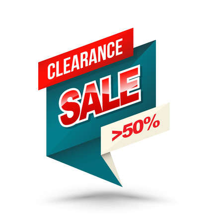 flashes: Origami banner clearance sale 50 percent. Vector illustration. Illustration